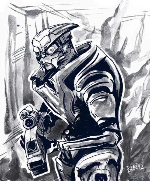 To get into the Mass Effect spirit, I thought I'd do a quick sketch of our favorite turian: Garrus!   Done for drawedgoods.
