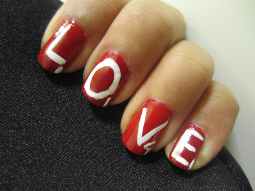 Valentine's Day Scrabble nail art, click pic for video tutorial.