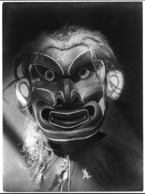 geodetea:  A Kwakiutl person wearing the mask of the mythical creature Pgwis, man of the sea. Awesome!  Title: Pgwis—Qagyuhl   Creator(s): 						 				Curtis, Edward S., 1868-1952, photographer   Date Created/Published:  					c1914 November 13. I wonder what the ceremonial function of the mask was?