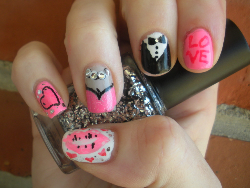 Valentine's Day Nail Art  Tuxedo Man & Busty Broad Valentines Date.  My husband was a big fan of the cleavage nail, check out my next post for more on that  :]  Cleave Credit due to Miss. Algae Veronica from her Miss Piggy nails.