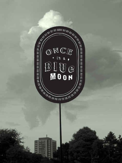 "Once In a Blue Moon, 22"" x 30"" 3-colour silkscreen."
