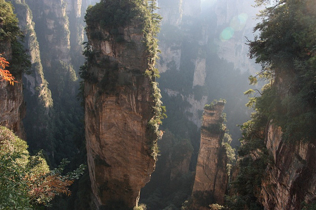 "張家界 Zhangjiajie National Forest Park (China) by Rei. in forest on Flickr.According to park officials, photographs from this park inspired the floating Hallelujah Mountains seen in the film ""Avatar""."