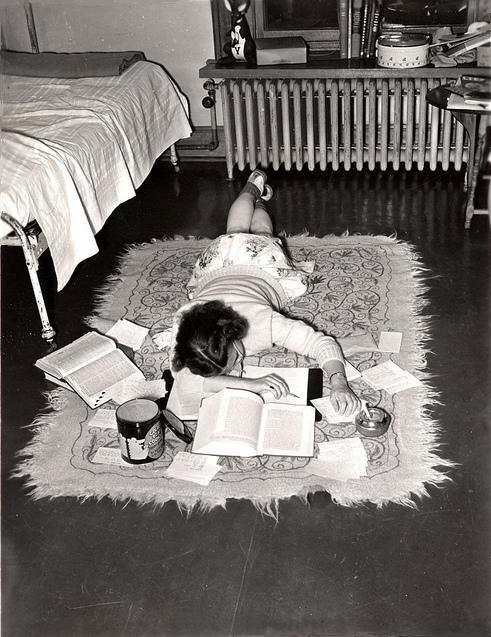 wryer:  inmilkwood:  An exhausted student gives up. Connecticut, 1947.  me  GPOY