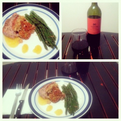 #febphotoaday dinner stuffed pork chops and apple sauce with truffle asparagus (Taken with instagram)