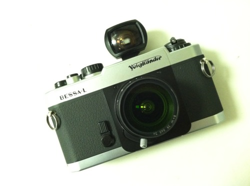 Voigtlander Bessa-L with Voigtlander 21mm f4 lens and viewfinder. LTM mount No rangefinding ability. Scale focusing only. 39mm filter mount with 39mm X0 filter attached. Has the infamous sticky rubber from the early 2000 era.  A bit of dust from being in storage.