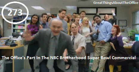 Great Things About The Office - #273 - The Office's Part In The NBC Brotherhood Super Bowl Commercial.  Click on the picture for the commercial!