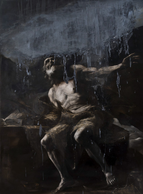 "pinstripesuit:  wizzard890:  andreasmroberts:  Nicola Samori (b. 1977). Italian. Neo-Baroque??  Nicola Samori is fucking incredible. He works out of Italy, and he's managed to nail the style of the Old Masters: his exhibitions contain everything from beautiful Baroque saints to Flemish still lifes — all painted now, in the modern era, in his studio. And that would be amazing in and of itself, but his work is so much more than simple reproduction. See, once he's finished with a painting, or once he's adapted one that's been previously created, he takes a scalpel to it, a spatula, or a square of sandpaper, and begins to peel it apart. He flays painted skin right off his subjects' bones. Sometimes the ""destruction"" of the images asks the audience to think about what, exactly, the painting communicates when it's whole. Other times it adds a strange level of corporeality to religious works, or gives portraits a darkly spiritual dimention they never had before.  He's said in interviews that he views the layers of paint on the canvas as analogous to the muscle and tissue of the human body, and that by wearing it away, he changes the identity of the paintings themselves. Dark and sometimes chilling as it is, I think his work is genuinely brilliant, and he's one of my favorite living artists. (Long story short, here's his website, go check it out!)  reblogging these again because yes"