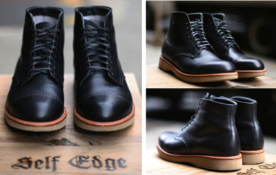 "Alden Boots X Leather Soul, Self Edge  Two smitten-worthy outfits come together to bring us this sleek, utilitarian boot. Denim purveyor Self Edge describes their niche in the world this way: ""We don't see a pair of jeans as just a pair of jeans. We see them as part of your life—something that ages with you and, like you, only becomes better with time."" We couldn't agree more, and, in the case of a quality piece of footwear, the same rules apply, which is something Leather Soul seems aware of by their own credo: ""Aloha, our passion is for craftsmanship, style, the perfect fit and uncompromising service."" One hundred pairs of the Alden boot were produced in each of two colors—black and Horween chromexcel (tan)—both bearing the telltale detail of a stitched mock toecap. You can pick them up starting February 18 at either Leather Sole location (Beverly Hills and Waikiki). In addition, Self Edge will be releasing an Iron Heart collaboration jean as part of the package."
