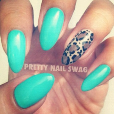 prettynailswag:  Wanted to do something clean & simple because this colour is just too damn pretty, CG - Aquadelic (Taken with instagram)