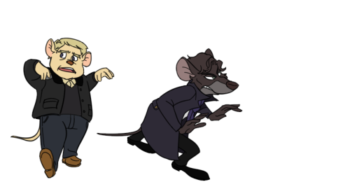 curlyfoureyes:  radiotook:  Lol seeing those Great Mouse Detective crossover again, I just feel like posting something similar to it. This is one of the frame for the gif I was making for this crossover. It's taking me too long to do, so it sort of got put aside for now. Ah    I just want GMD!Sherlock all the time. All. The. Time.