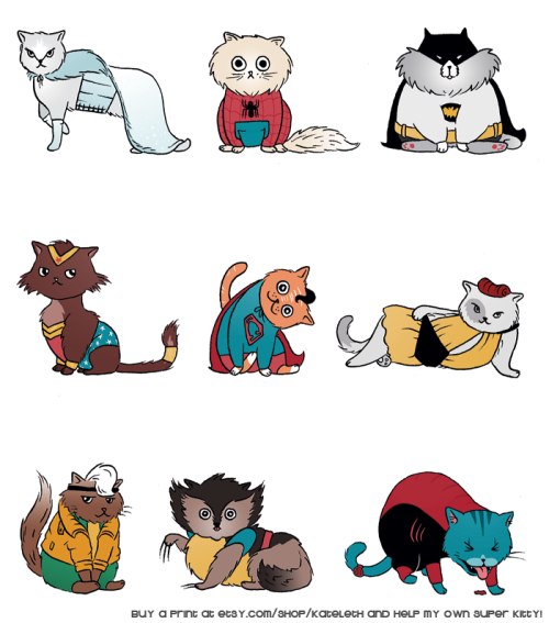 gaminginyourunderwear:  Superkittehs!  kateordie: For easier reblogging - The print is available here and goes towards vet bills!  Give me Bat-cat!GIVE HIM TO ME