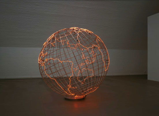 "posttheory:  Mona Hatoum Hot Spot    ""Hot Spot suggests that it is not simply contested border zones that are political hot spots but an entire global situation: what Hatoum describes as a 'world continually caught up in conflict and unrest'."" (via)"