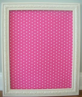 this craft could be 2 different things: a corkboard, as shown, or you can keep the glass from the frame, and put the fabric on display, and write on the glass as you would a whiteboard! :)  Supplies you will need: picture frame cork board material pretty fabric hot glue gun scissors measuring tape Measure your fabric for the size of the corkboard material, and for the cardboard/backing of the frame. Secure with hot glue, or you could also use masking tape/duct tape since nobodywill see it anyway! Set the glass piece aside. Place backing with fabric back into the frame, and you have a corkboard :)  For the whiteboard: I've seen many people draw a calendar outline on the fabric, or write little notes. Just make sure you leave enough space for everything to be legible once you start writing on the board! Use dry erase markers only.