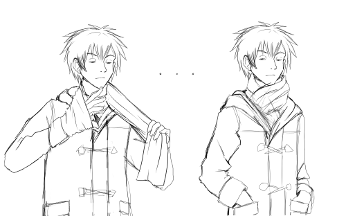Isaru wears his scarf Sherlock European loop style. I might make the change permanent