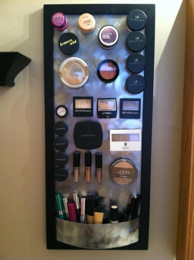 ultimatediy:  Magnetic make up board, so that your make up isn't all over the place. Buy a specific size of a piece of metal from Home Depot, have it cut, then put it in a frame and cover it with fabric. Attach magnets to make up, and you have a new creation.
