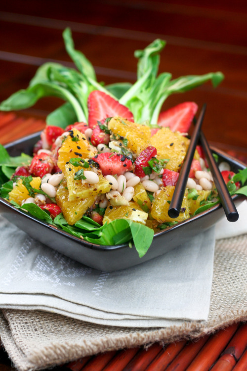 thehealthyfoodie:  Orange, Strawberry and Navy Bean Salad This Orange, Strawberry and Navy Bean salad might sound like a strange combination, but it's really delicious. It's so fresh, so intensely flavorful, and loaded with so many textures! In fact, it's quite a sensory experience. You get a little bit of spicy, sweet, tangy, peppery, salty, nutty, crunchy, creamy, juicy and crispy, all that in every bite!