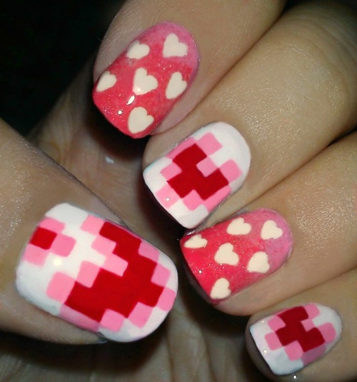 nailstales:  Nail art for Valentines Day. Just thought I should do one. Hope you like it :)