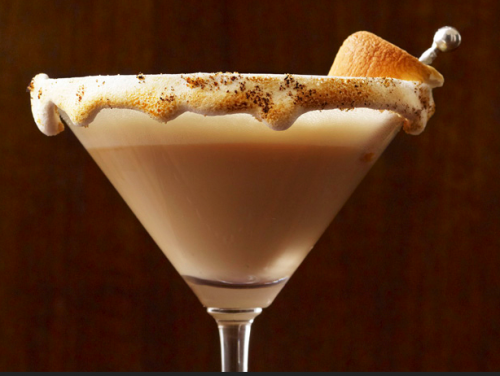 S'mores Martini's  Ingredients For the cinnamon-vanilla vodka: 1 bottle (750 ml) vanilla-flavored vodka 9 cinnamon sticks For the martini: Marshmallow cream, for the glass Fine graham cracker crumbs, for the glass Cocoa powder, for the glass 1 ounce Drambuie (honey-flavored scotch) 1 ounce chocolate liqueur (preferably Godiva) Dash of chocolate bitters 2 ounces heavy cream 1 teaspoon honey Toasted marshmallow, for garnish (optional) Directions  Make the cinnamon-vanilla vodka: Pour the vodka into a jar; add the cinnamon sticks and cover. Store in a cool, dark place, shaking the jar every day or so, for 1 week. Strain; discard the cinnamon sticks. Make the martini: Coat the rim of a martini glass with marshmallow cream (if it's too thick for rimming the glass, mix with some water). Sprinkle some graham cracker crumbs and cocoa powder on the marshmallow cream. Lightly toast the marshmallow rim with a kitchen torch. Put 1 ounce of the cinnamon-vanilla vodka, the Drambuie, chocolate liqueur and chocolate bitters in acocktail shaker filled with ice; shake until frothy. Strain into the prepared martini glass. Rinse out the shaker and refill with ice. Add the heavy cream and honey and shake vigorously (without the ice) until slightly thick. Spoon the heavy cream mixture over the cocktail. Garnish with a toasted marshmallow.