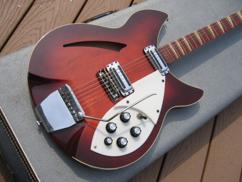 1965 Rickenbacker 365 OS The 365 was basically an upscale version of the 360 model that came with a tremolo bar. Two body styles were available: OS (Old Style) for the 330 body style with sharp horns, or NS (New Style) for the rounded body. The OS is one of my favorite Rick out of the 300 family, and the factory original Autumnglo finish is simply stunning.
