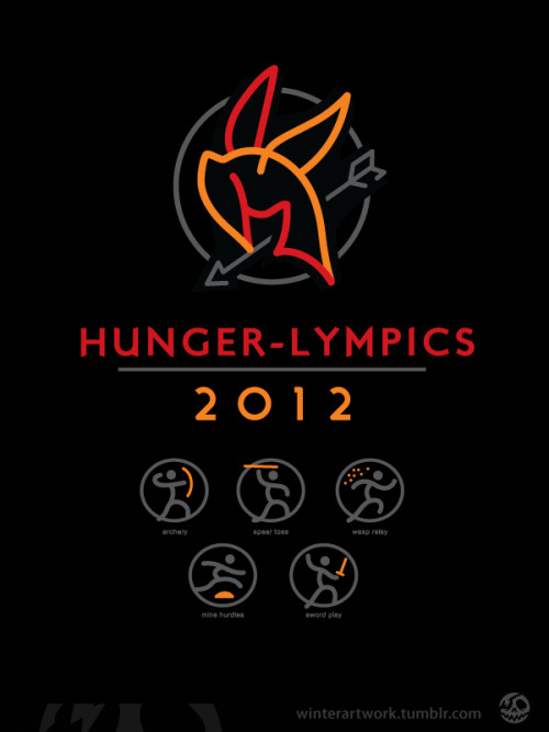 "winterartwork:  ""Hunger-Lympics"" Welcome to the Panum games 2012!Events: Archery - Spear Toss - Wasp Relay - Mine Hurdles - Sword Play sign up here!"