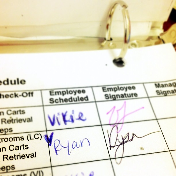I #love coming to #work and seeing little #hearts #written next to my #name. ❤ #handwritten #handwriting #writing #sweeps #ryan #nice #ralphs #paper #folder #instagram #pen #ink (Taken with instagram)
