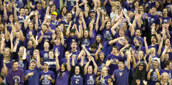 ronwurzer:  University of Washington Dawg Pack at a basketball game in 2011.