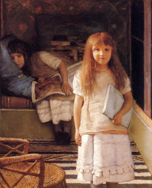 thehazelwood:  This is Our Corner (1873) - Lawrence Alma-Tadema
