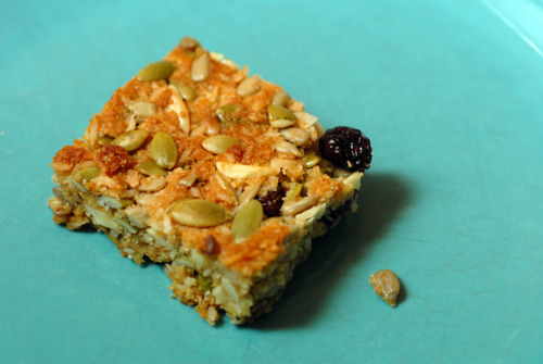 fightendo:  GLUTEN FREE BREAKFAST BAR    These hearty breakfast bars are Gluten Free, Sugar Free, Endo Safe, and taste deeeeeellllliciousss! Serve with a glass of Organic Orange Juice, or some fresh Herbal Tea. Nom nom nom :] Enjoy ~ Breakfast Bars Recipe 1 ¼ cup blanched almond flour   ¼ teaspoon celtic sea salt ¼ teaspoon baking soda ¼ cup grapeseed oil ¼ cup Agave Nectar (Sugar alternative) 1 teaspoon vanilla extract ½ cup unsweetened shredded coconut  ½ cup pumpkin seeds ½ cup sunflower seeds ¼ cup almond slivers ¼ cup raisins  In a small bowl, combine almond flour, salt and baking soda In a large bowl, combine grapeseed oil, agave and vanilla Stir dry ingredients into wet Mix in coconut, pumpkin seeds, sunflower seeds, almond slivers and raisins Grease an 8x8 oven safe dish with grapeseed oil Press the dough into the baking dish, wetting your hands with water to help pat the dough down evenly Bake at 350° for 20 minutes Serve Makes 12-16 bars