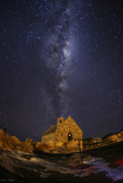 ikenbot:  New Zealand Milky Way by P.K. Chen The spectacular southern hemisphere view of the Milky Way is photographed above the Church of the Good Shepherd at the shore of Lake Tekapo in the South Island of New Zealand. Mount John University Observatory, New Zealand's premier astronomical observatory, is situated near the lake and with support of New Zealand government the starry sky of the lake is considered a nominate site for UNESCO Starlight Reserve initiative; a new approach to preserve the dark sites as a World Heritage.