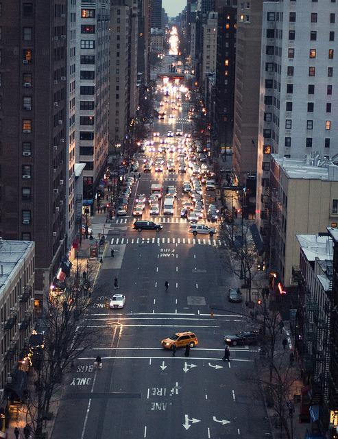 2nd Ave. New York, February 2012. Taken from the tram (gondola) that goes to Roosevelt Island.