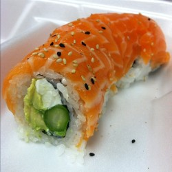 Day 037: dinner: Philadelphia roll. I'm going to miss these when I transfer stores. (Taken with instagram)