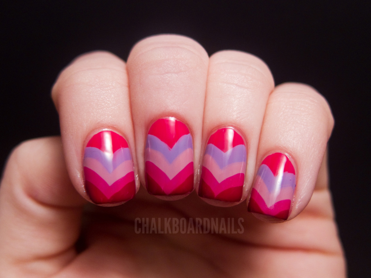 chalkboardnails:  Heart Fishtails China Glaze Wicked StyleOPI Do You Lilac It?OPI Sparrow Me the DramaSally Hansen Twisted PinkOPI Manicurist of Seville