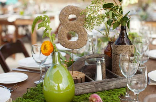 twine wrapped table numbers #rustic #wedding