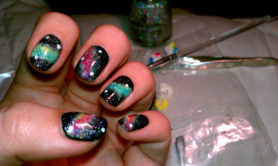 kristengothernailsdid:  Galaxy Nails