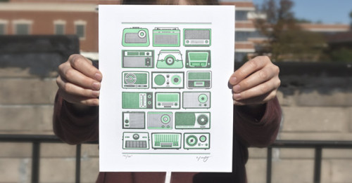 Tuned in: Mint green retro radio letterpress print by 55 Hi's ($18).