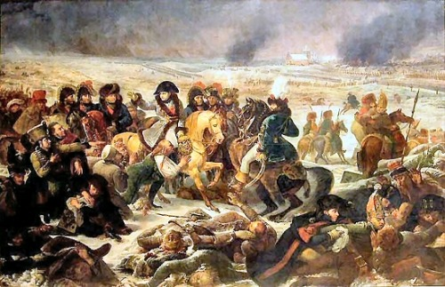 Napoléon à la Bataille d'Eylau par Antoine-Jean Gros @credits  The Battle of Eylau or Battle of Preussisch-Eylau, 7 and 8 February 1807, was a bloody and inconclusive battle between Napoléon's Grande Armée and a Russian Empire army under Levin August, Count von Bennigsen near the town of Preußisch Eylau in East Prussia. Late in the battle, the Russians received a timely reinforcement from a Prussian division. The town is now called Bagrationovsk and it is a part of Kaliningrad Oblast, Russia. The engagement was fought during the War of the Fourth Coalition, part of the Napoleonic Wars. Napoleon's armies previously smashed the army of the Austrian Empire in the Ulm Campaign and the combined Austrian and Russian armies at the Battle of Austerlitz  on 2 December 1805. Austerlitz forced the Austrians to sue for peace  and their Russian allies to withdraw from the conflict. On 14 October  1806, Napoleon crushed the armies of the Kingdom of Prussia at the Battle of Jena-Auerstedt. After a rapid pursuit, the broken pieces of the Prussian army were destroyed at the Battles of Prenzlau and Lübeck and in a series of capitulations at Erfurt, Pasewalk, Stettin, Magdeburg, and Hamelin. Eylau was the first serious check to the Grande Armée and the myth of Napoleon's invincibility was badly shaken.