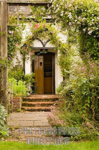 Front door of an English cottage in rural Hampshire