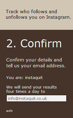 Step 2: Confirm your Instagram username and enter your email address if you wish to receive daily or weekly alerts to your inbox.We will only email you if you have gained or lost followers.