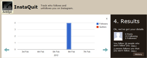 "Step 4: Click on the ""History"" button to view graphs of your follow/unfollow statistics.We check your Instagram statistics several times a day at off-peak hours from the day you have authorized your details with us."