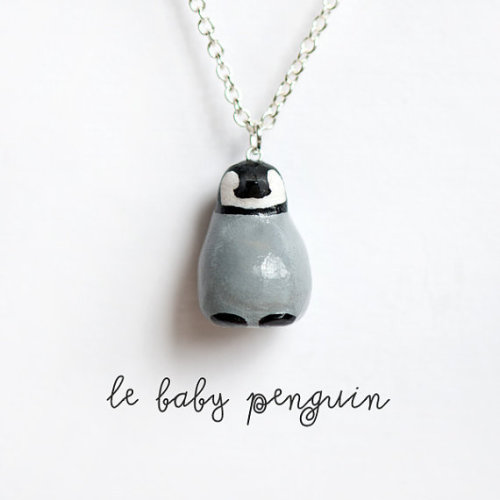 Penguin Necklace Animal Totem Le Optimistic Baby by leanimale This is absolutely frikkin' adorable, I wish I had the money to buy it myself!