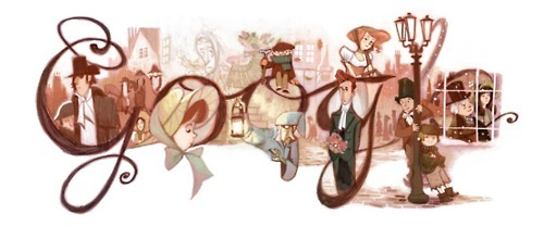 millionsmillions:  Google Doodle in honor of Charles Dickens, birthday boy.