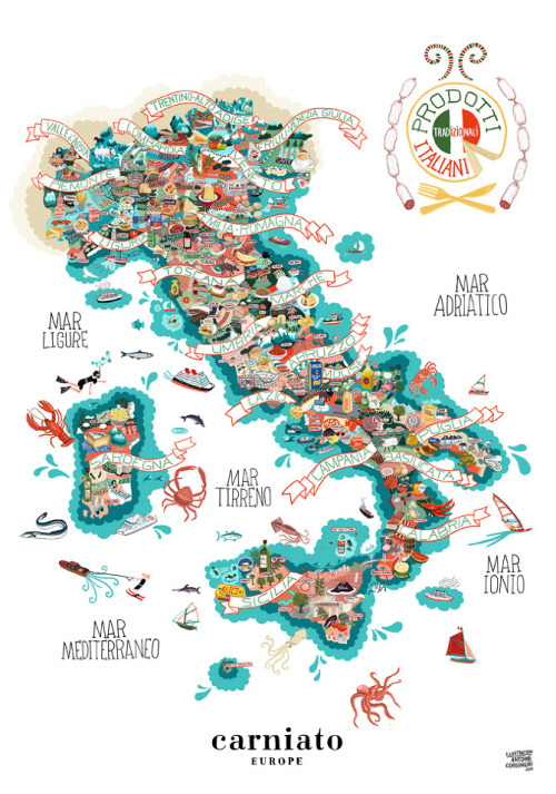 Illustrated map of Italy and its food products - via Antoine Corbineau
