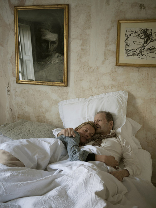 timelightbox:  Lucian Freud and Kate Moss in Bed, 2010. A new exhibition at London's Pallant House Gallery features photographs by David Dawson, who was Freud's model and studio assistant for 20 years. The show features some of Freud's key paintings alongside Dawson's photographs of the artist at work in his studio. See more here.