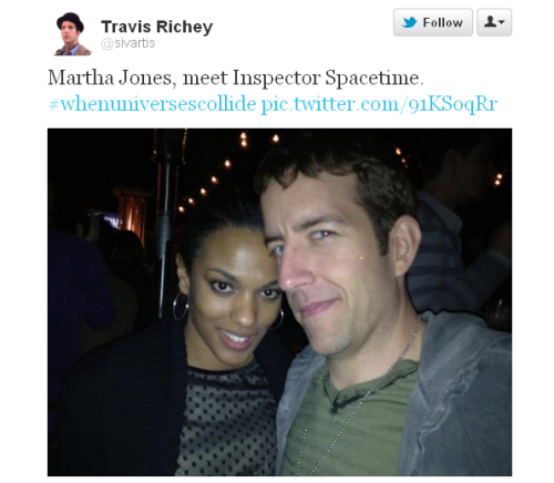 @sivartis (Travis Richey*) Martha Jones, meet Inspector Spacetime. #whenuniversescollide pic.twitter.com/91KSoqRr  d-an0nymouz:  When universes collide  * who plays 'Inspector Spacetime' in Community's 'Doctor Who' parody/tribute.