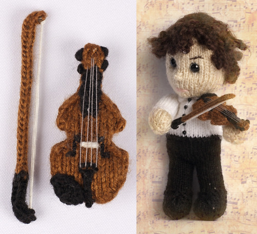 Knitted Sherlock's Violin by Kat Bifield