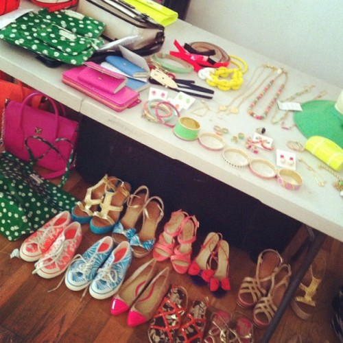 katespadeny:  behind the scenes. omg shoes! (Taken with instagram)  I LOVE EVERYTHING I WANNA HAVE THEM!!!!!!!