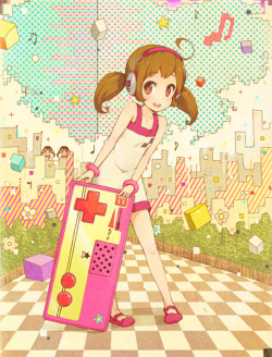 kondot:  1girl ahoge awakumo brown eyes brown hair checkered controller cube dress famicom flower headphones musical note original short hair standing star twintails