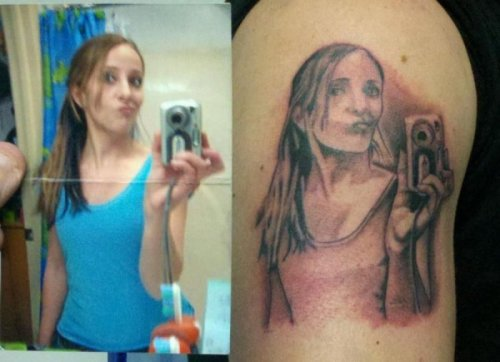 Girl Gets Mirror Picture Tattoo   Did it hurt when the tattoo artist slapped you in the face and asked if you were serious?