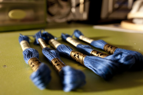 tantalizingtype:  I decided to stock up on my blue thread, since I ran out of the first one without even outlining the whole thing!