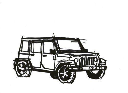 simple sketch of a jeep done in 3 minutes